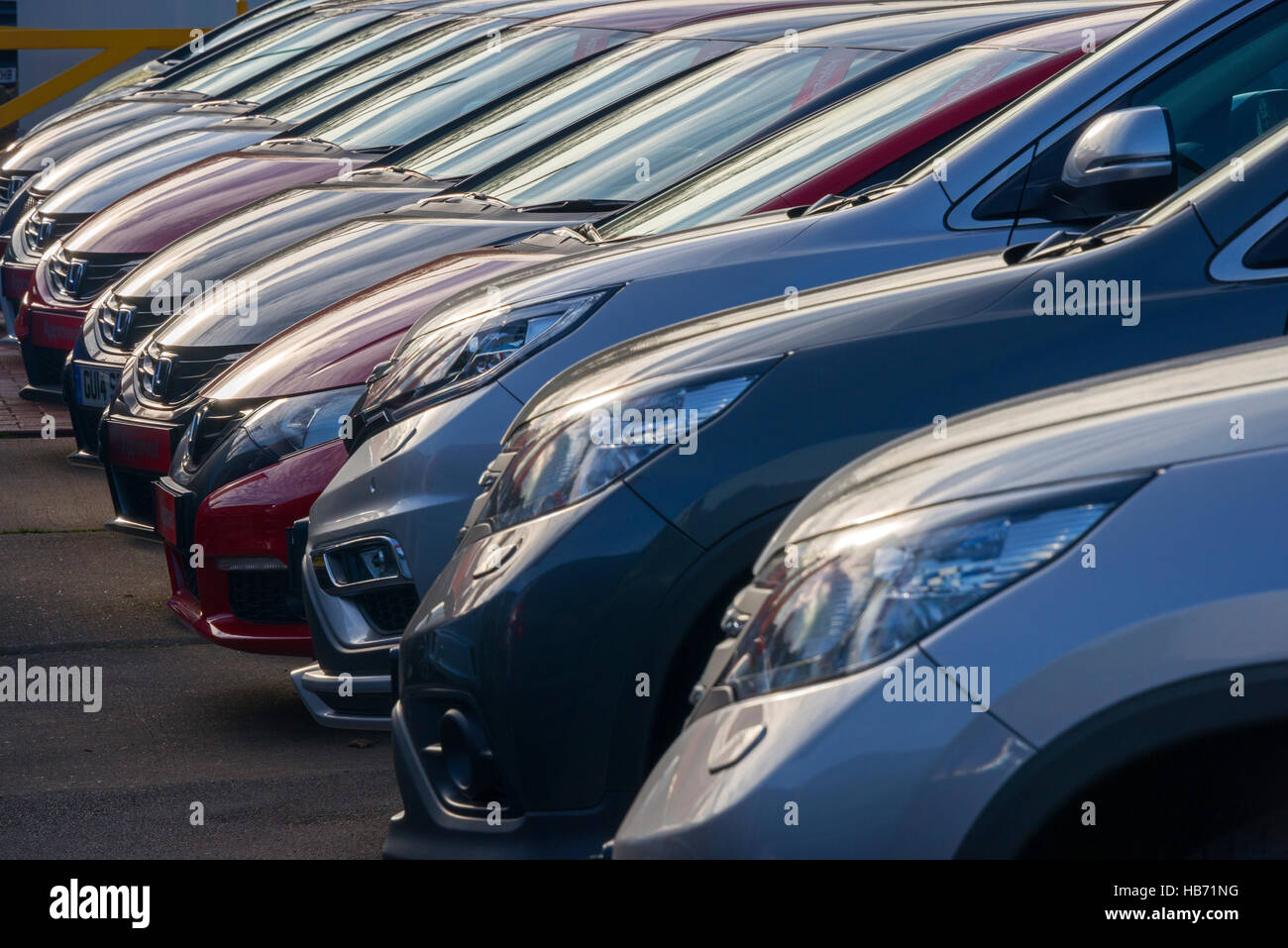 Line of Used Cars For Sale on Showroom Forecourt Stock Photo ...