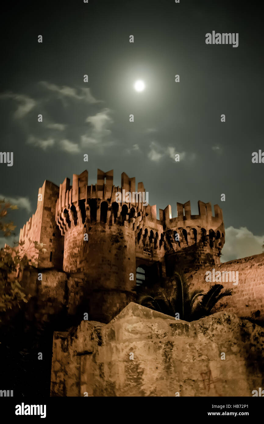 Rhodos City - Full moon over tower - Stock Image
