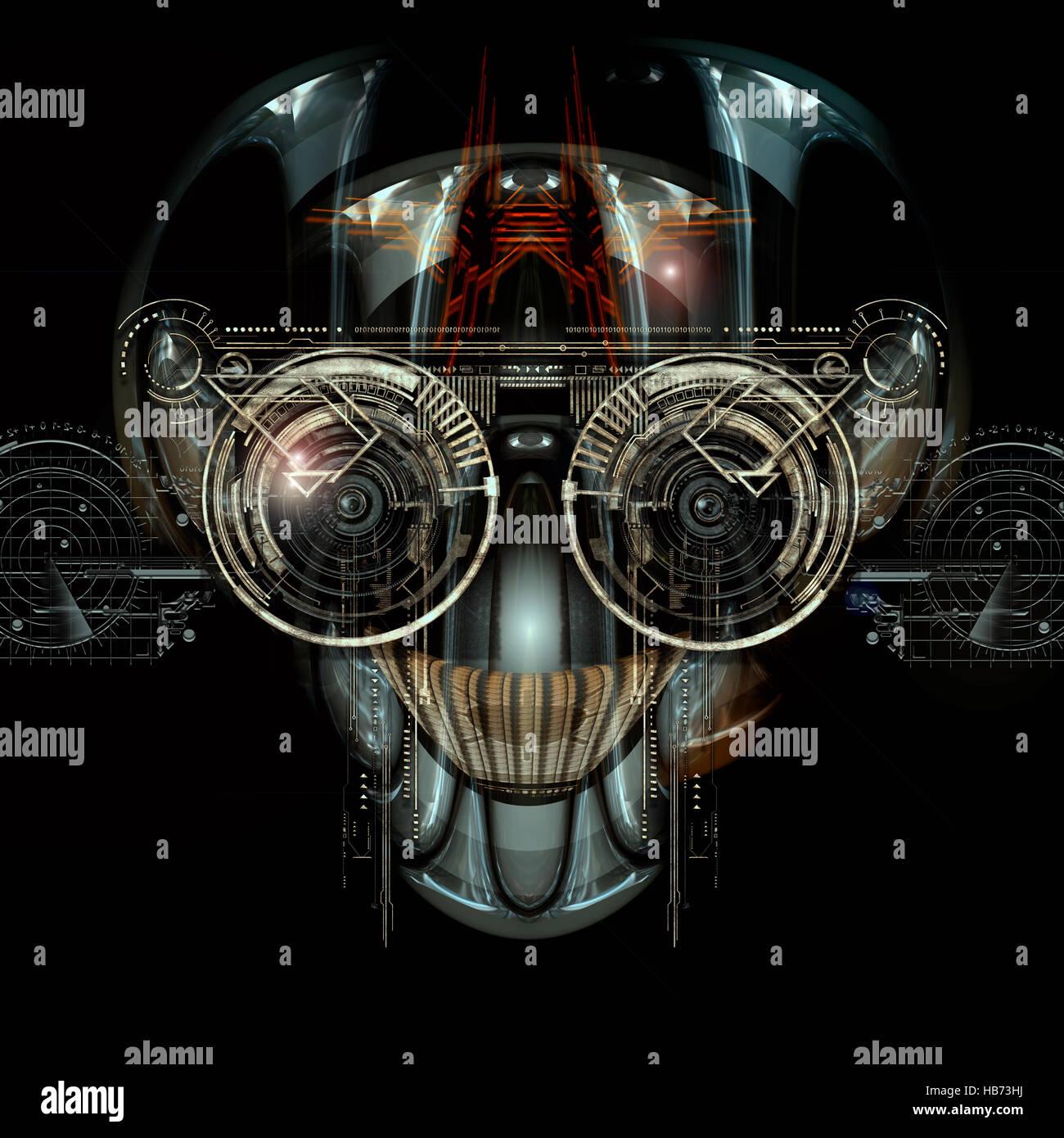 futuristic cyborg face - Stock Image