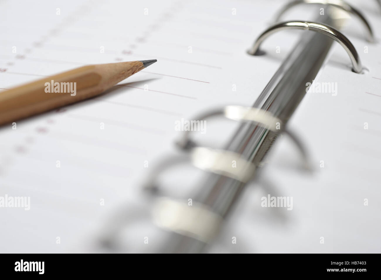 time planner with pencil Stock Photo