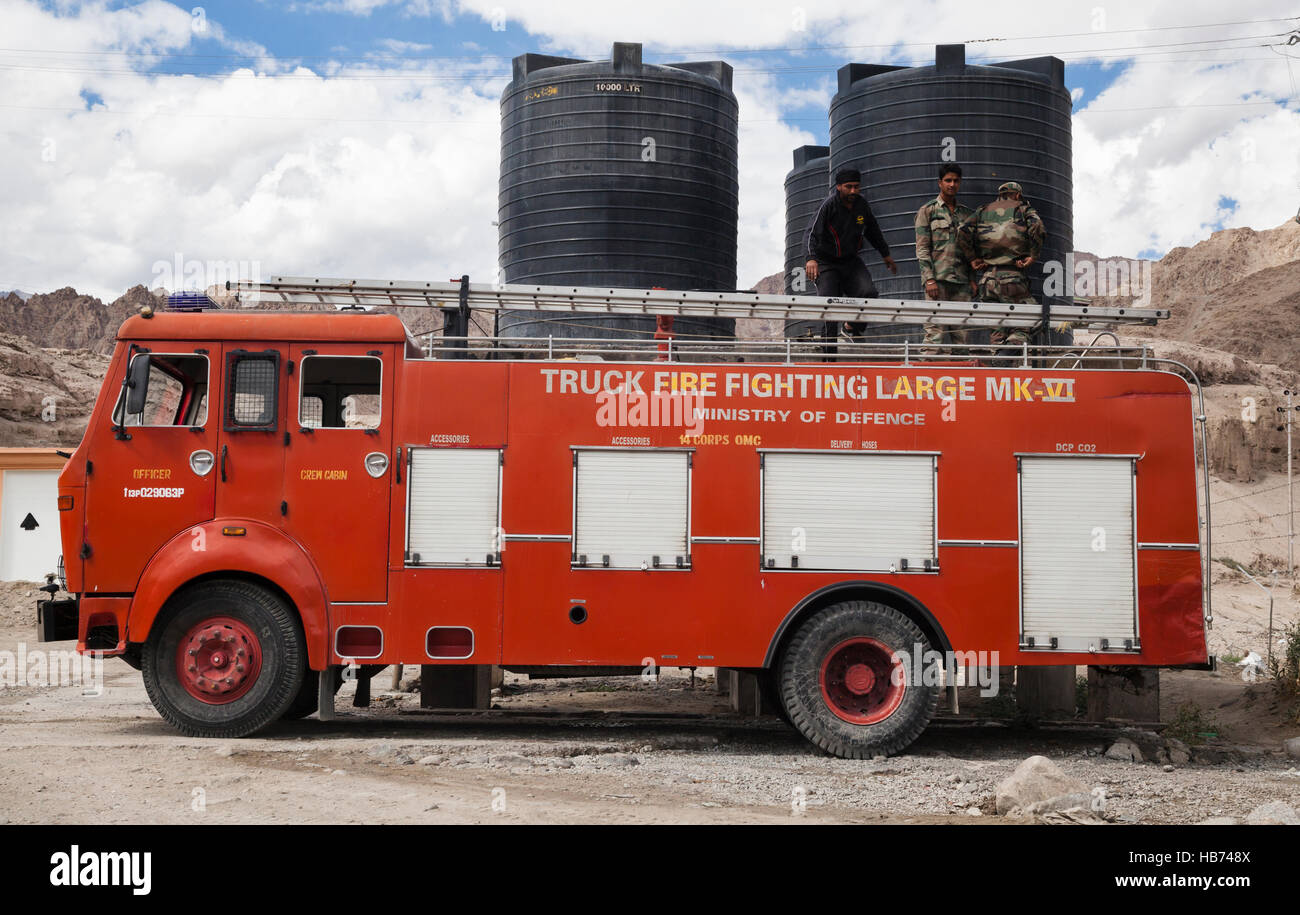 Indian Army Fire Truck Replenishing Water. Ladakh, India   Stock Image