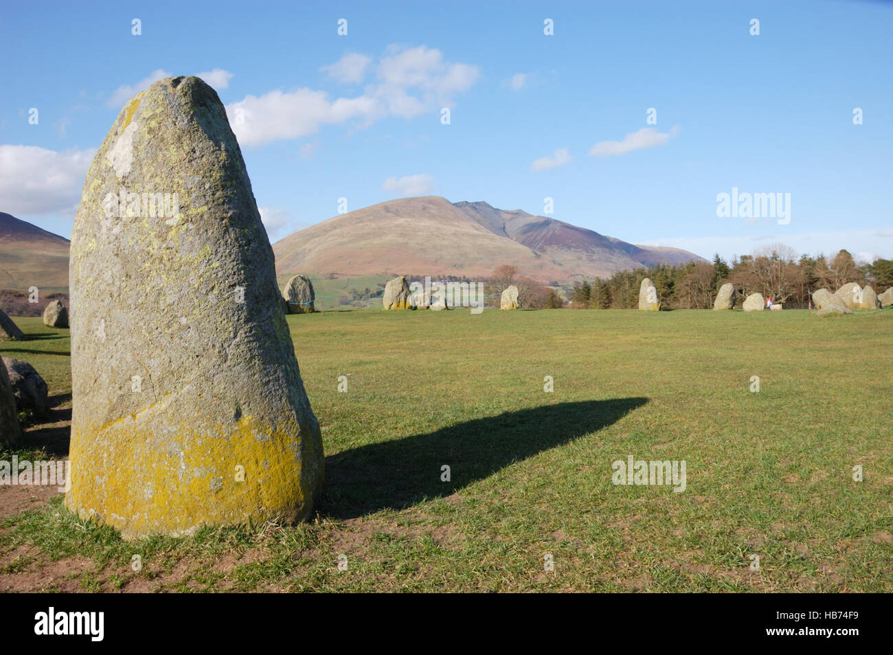 Looking towards Blencathra from Castlerigg Stone Circle in the English Lake District, Cumbria. Stock Photo
