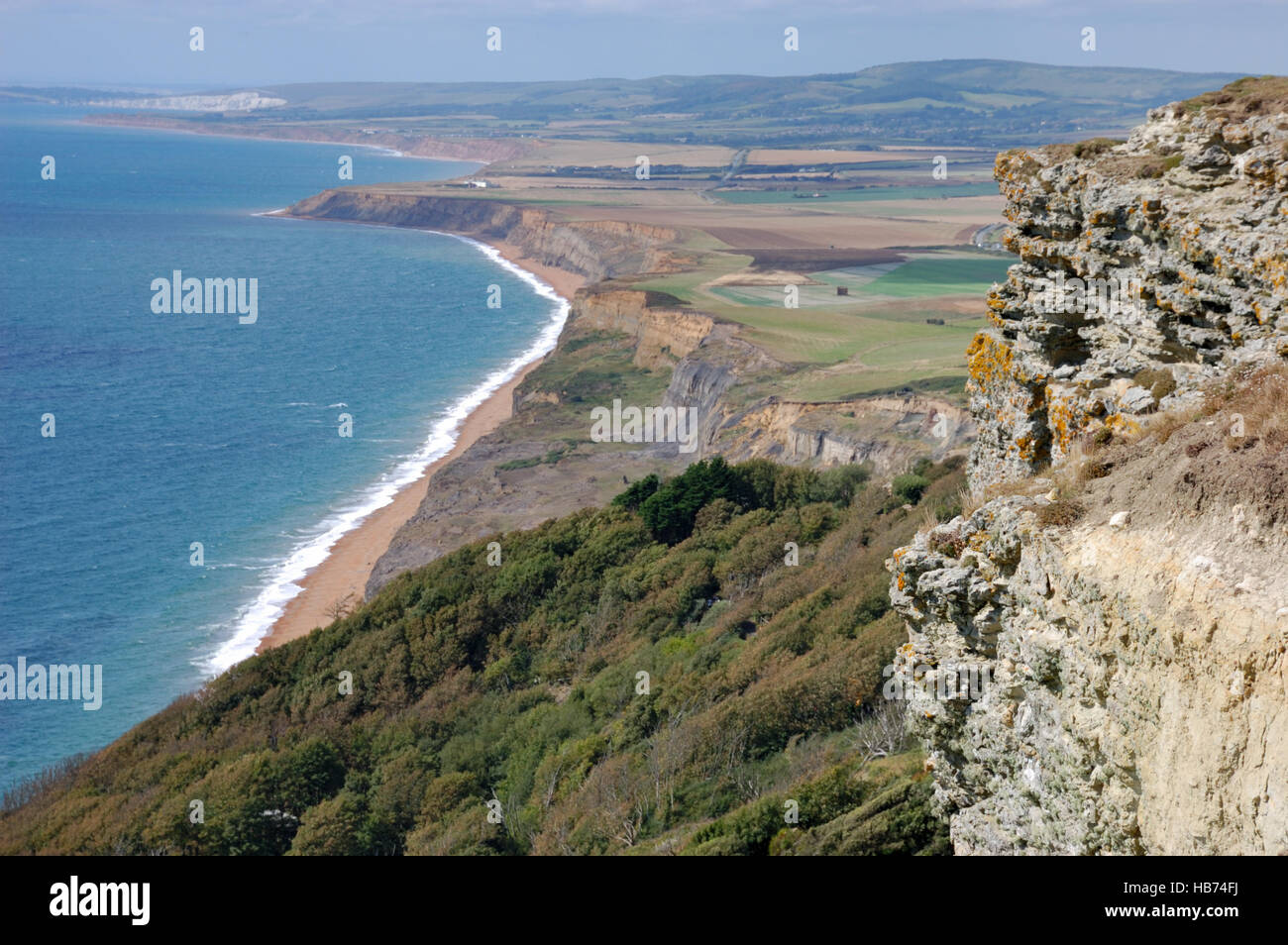 Looking over the landslip at Blackgang Chine and Whale Chine on Chale Bay, Isle of Wight Stock Photo