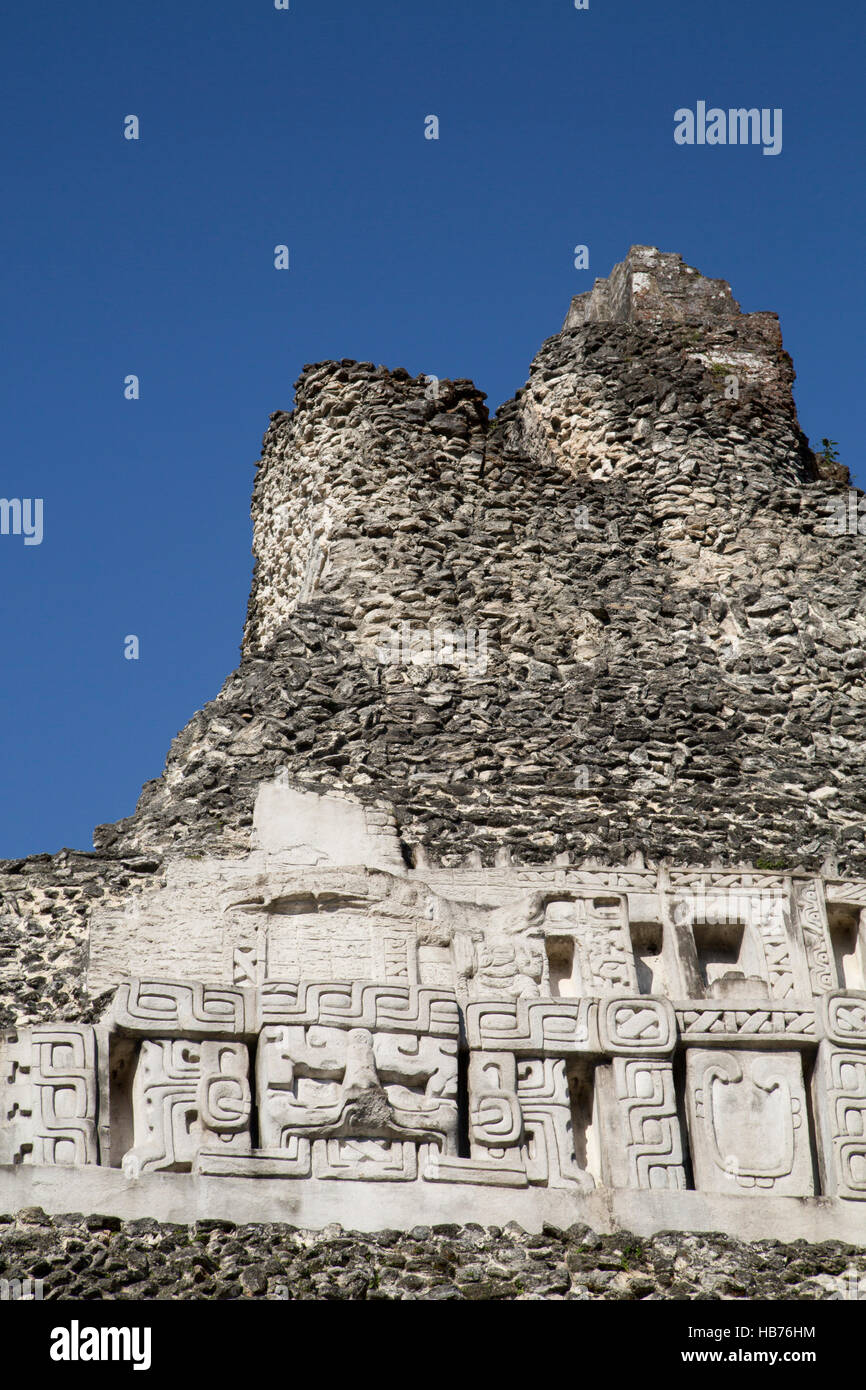 Stucco Frieze, Castillo, Xunantunich Mayan Ruins, outside San Ignacio, Belize - Stock Image