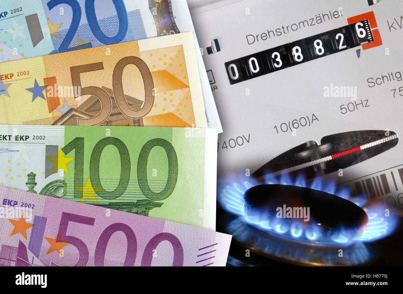 costs for gas and electricity - Stock Image