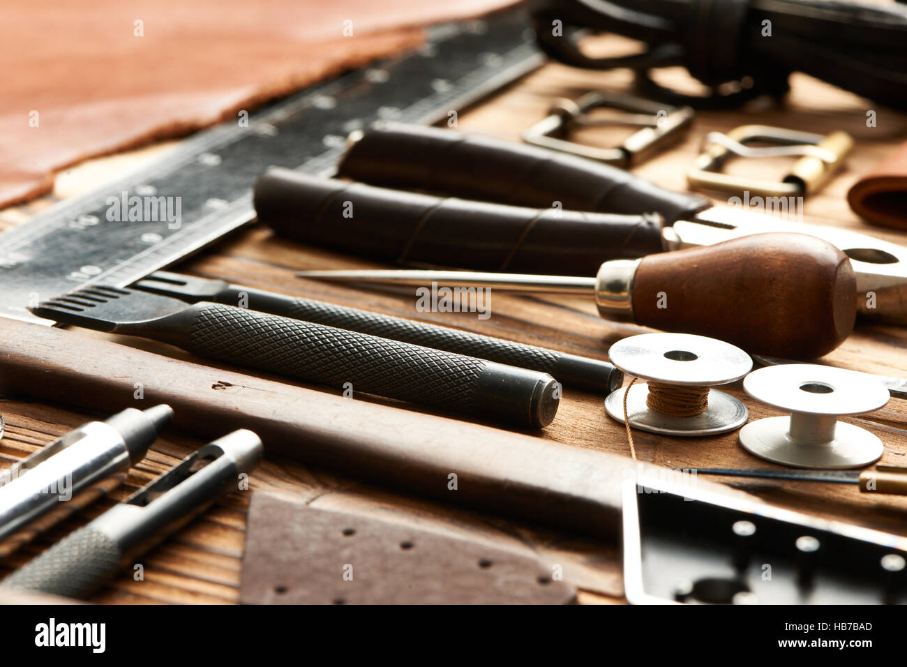 Leather crafting tools Stock Photo