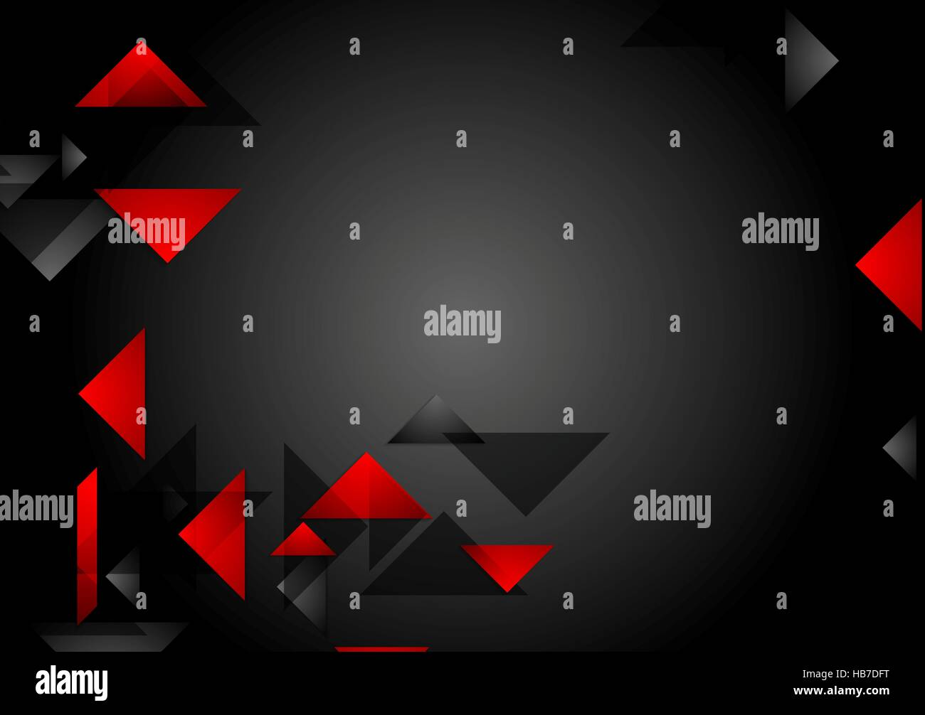 Dark red black tech geometric background - Stock Image