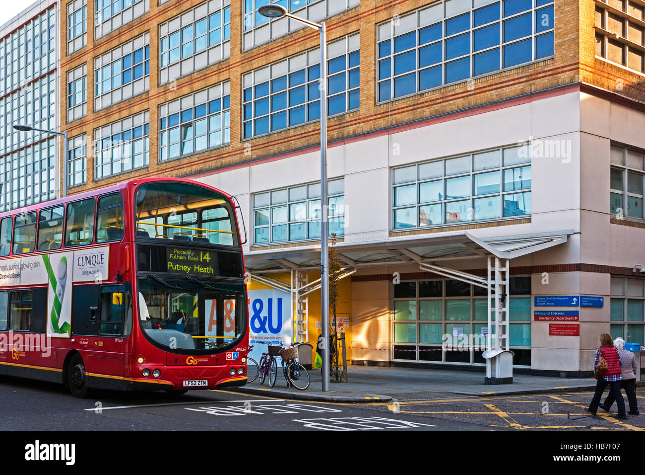 Chelsea and Westminster Hospital, Fulham Road, Chelsea, London with London Bus - Stock Image