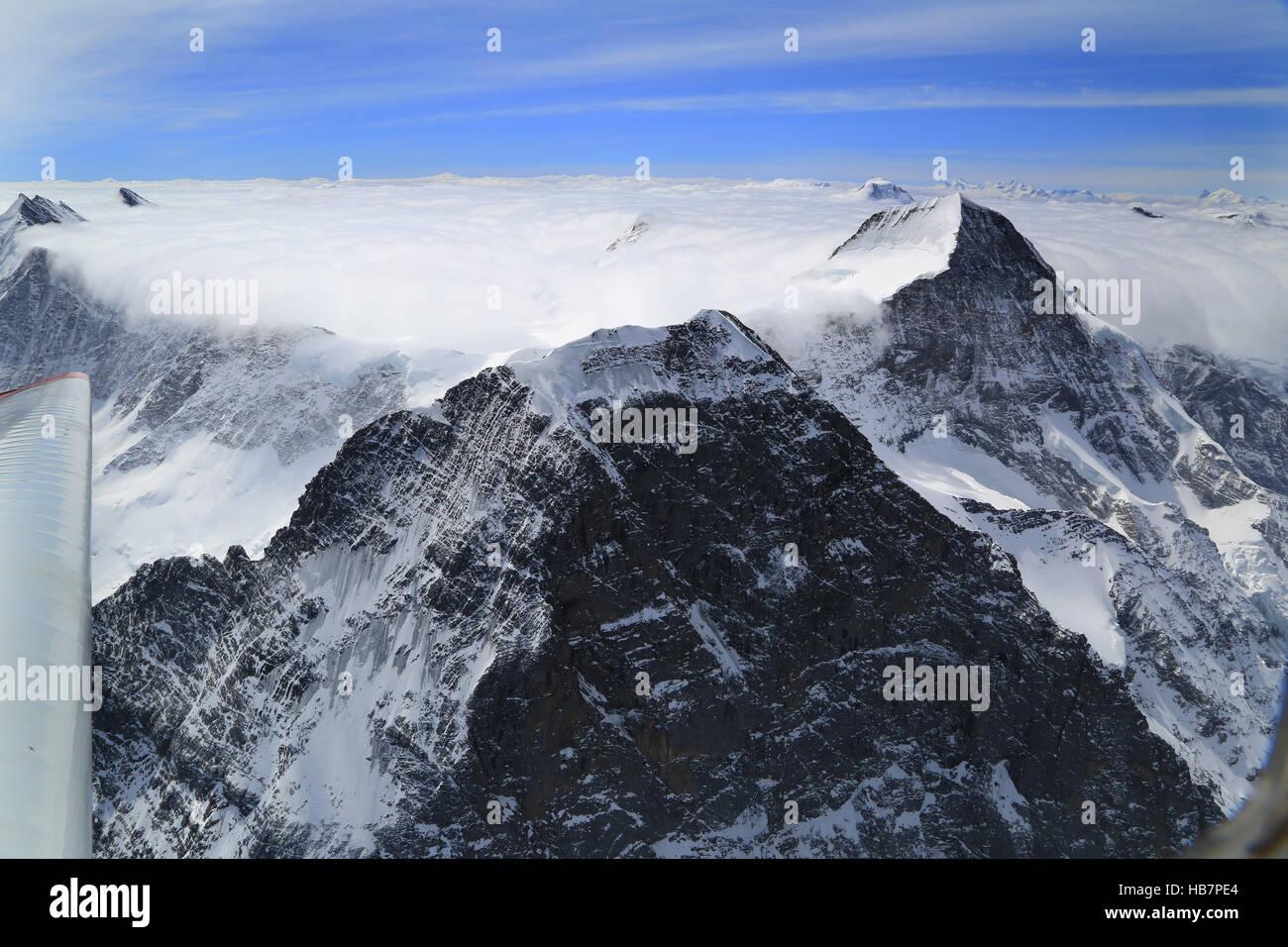 Berner Alpen, Gipfel Eiger und Mönch - Stock Image