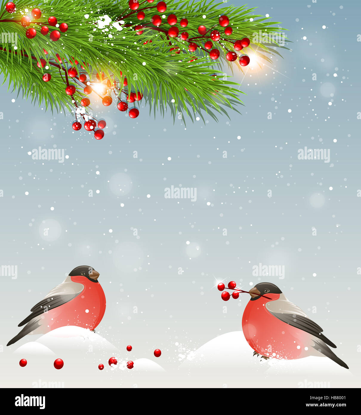 Winter Landscape With Two Bullfinches In Snow Green Fir Branches And Red Berries Christmas