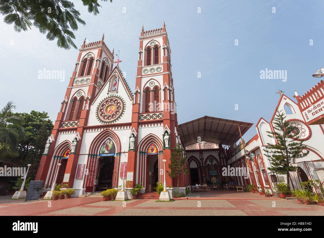 Basilica of the Sacred Heart of Jesus, Pondicherry, Tamil Nadu, India - Stock Image