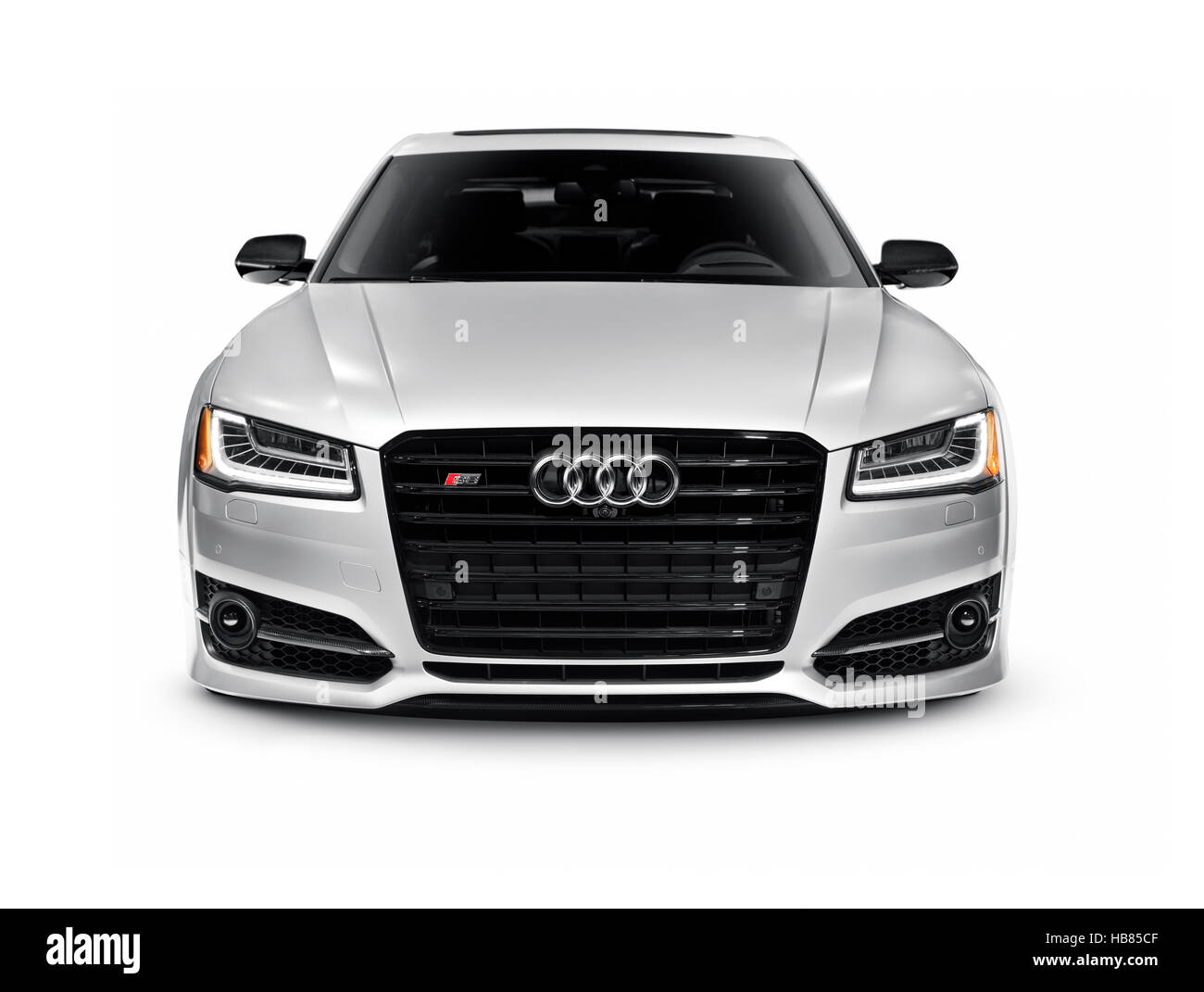 Silver 2016 Audi S8 Plus Sedan Luxury Car Front View Isolated On