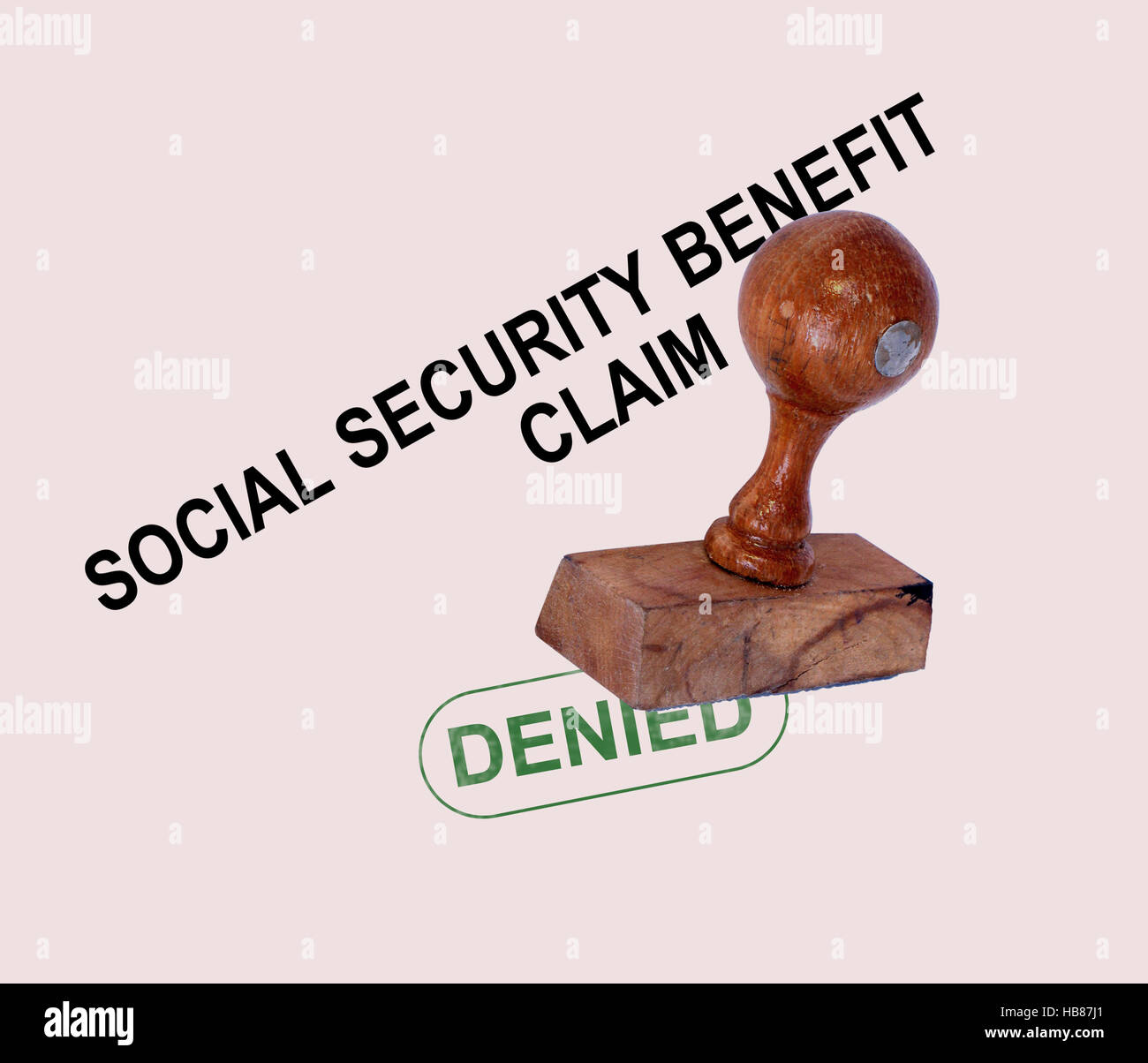 Social Security Claim Denied Stamp - Stock Image