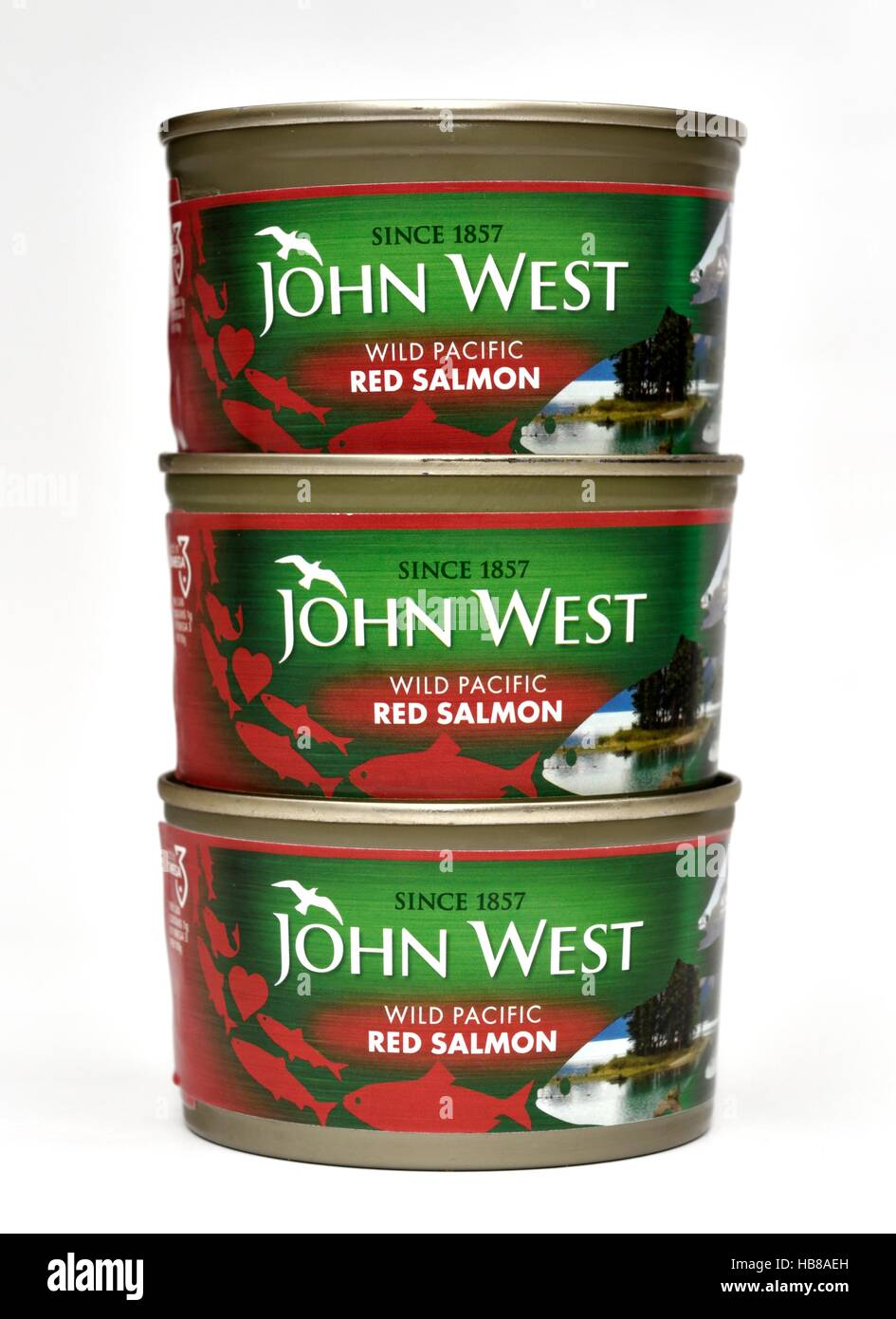 3 tins of John West wild pacific red salmon - Stock Image