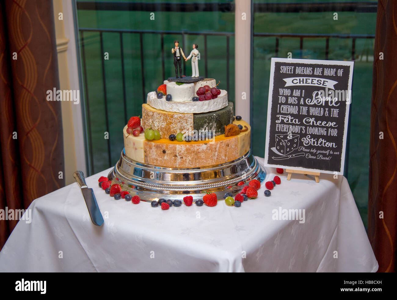 Wedding Cake Made Of Cheese Decorated With Fruit And Star Wars
