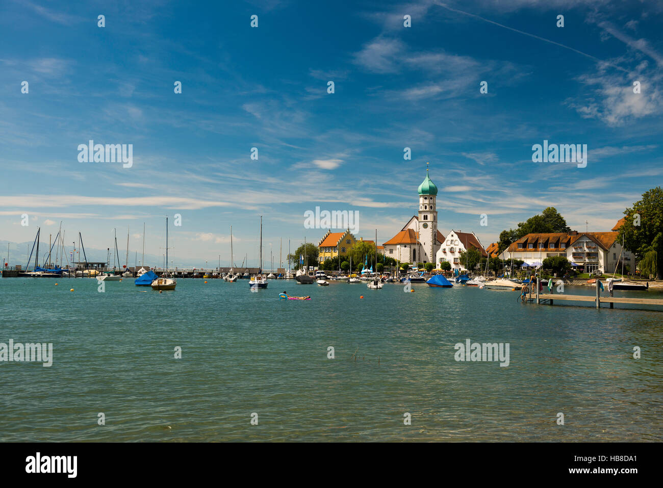 Saint George Church, moated castle, UNESCO World Heritage Site, Lake Constance, Bavaria, Germany - Stock Image