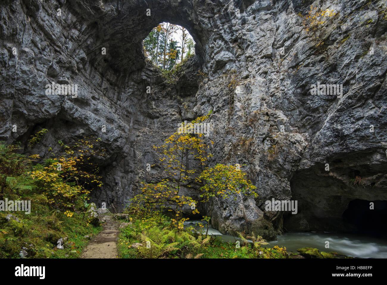 Hole in Zelske Jama cave, River Rak, Rakov Skocjan, Littoral–Inner Carniola Statistical Region, Slovenia Stock Photo