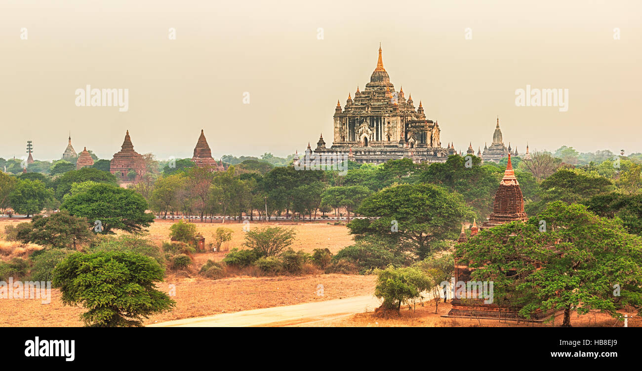 View from the Shwesandaw pagoda. Panorama Stock Photo