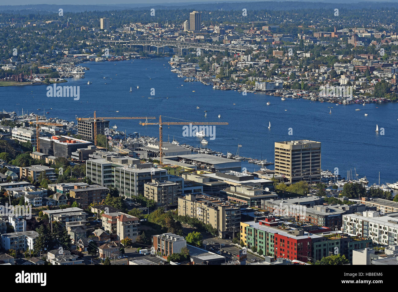 View of Lake Union from Space Needle tower, Seattle, Washington, USA - Stock Image