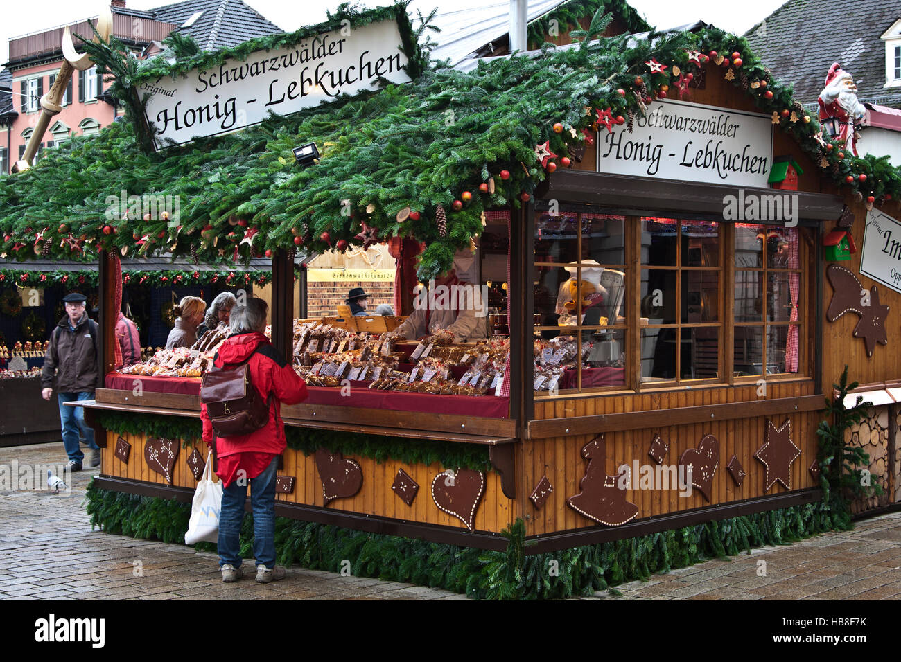 Christmas Fair Market at Ludwigsberg, Germany, Schwartzwalder Honey Lebkuchen booth, traditional spice cookies Stock Photo