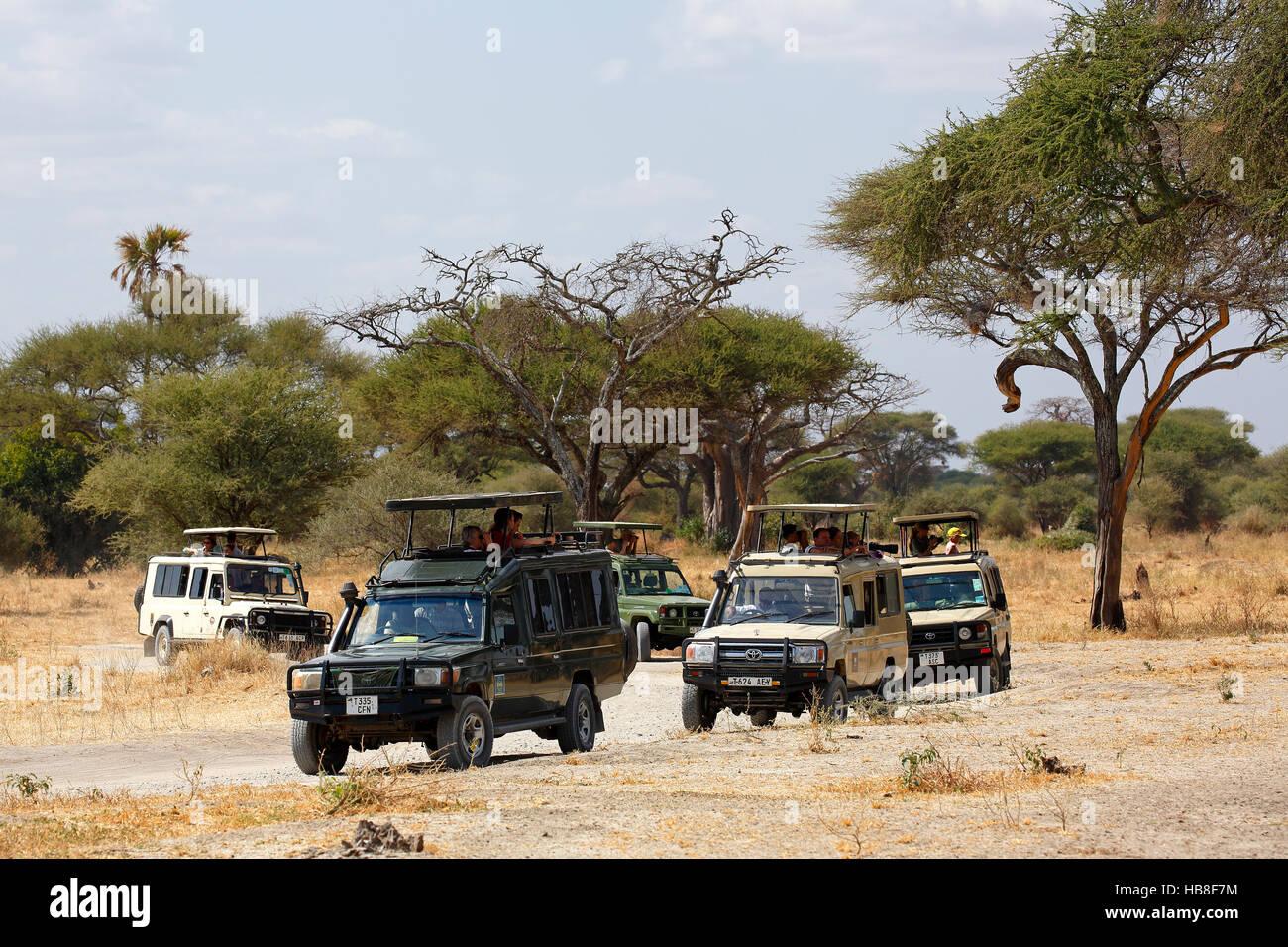Tourists on safari, ATVs driving through bush, Ngorongoro, Serengeti National Park, Tanzania - Stock Image