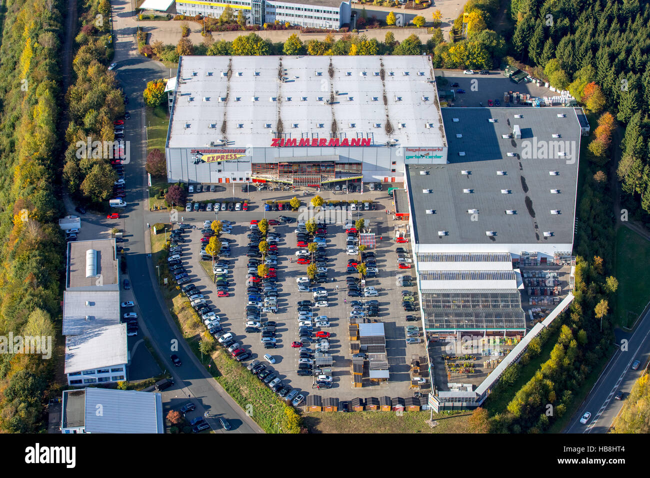 Aerial view, furniture Zimmermann GmbH and Co. KG, hagebaumarkt Freudenberg, commercial areas on the A45 motorway - Stock Image