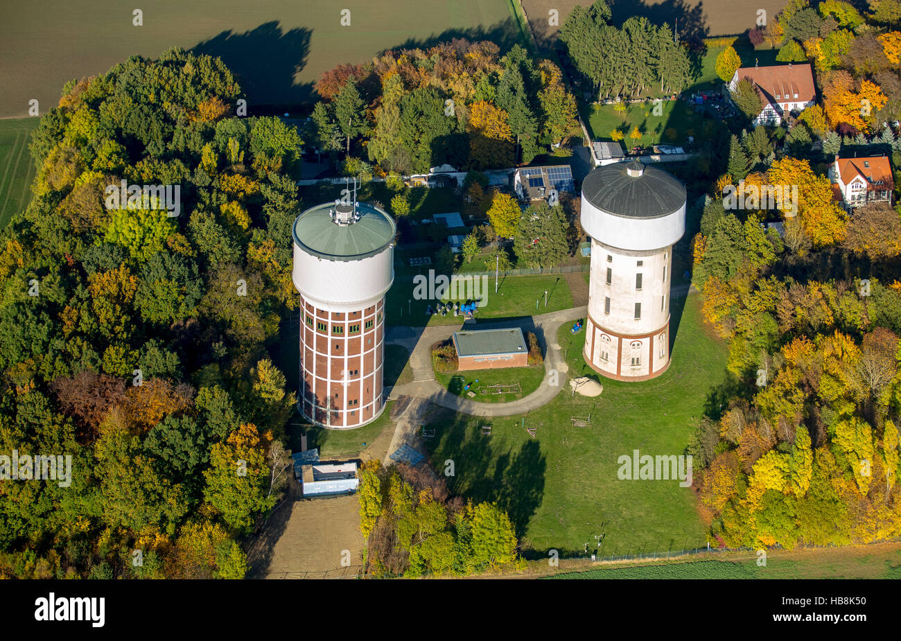 Aerial image, construction work on the water tower Hamm mountains, Hamm, Ruhr area, North Rhine-Westphalia, Germany - Stock Image