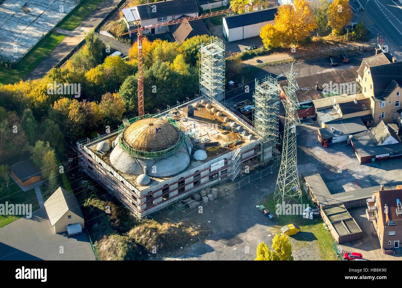 Aerial view, Ulu Mosque Zechenstraße Herringen, Kamen Street, Mosque properties, Hamm, Ruhr, Nordrhein-Westfalen, Stock Photo