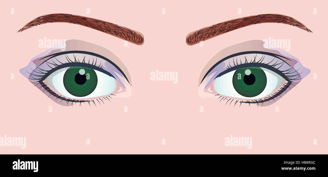 Green eyes with blue eyeshadow Stock Vector
