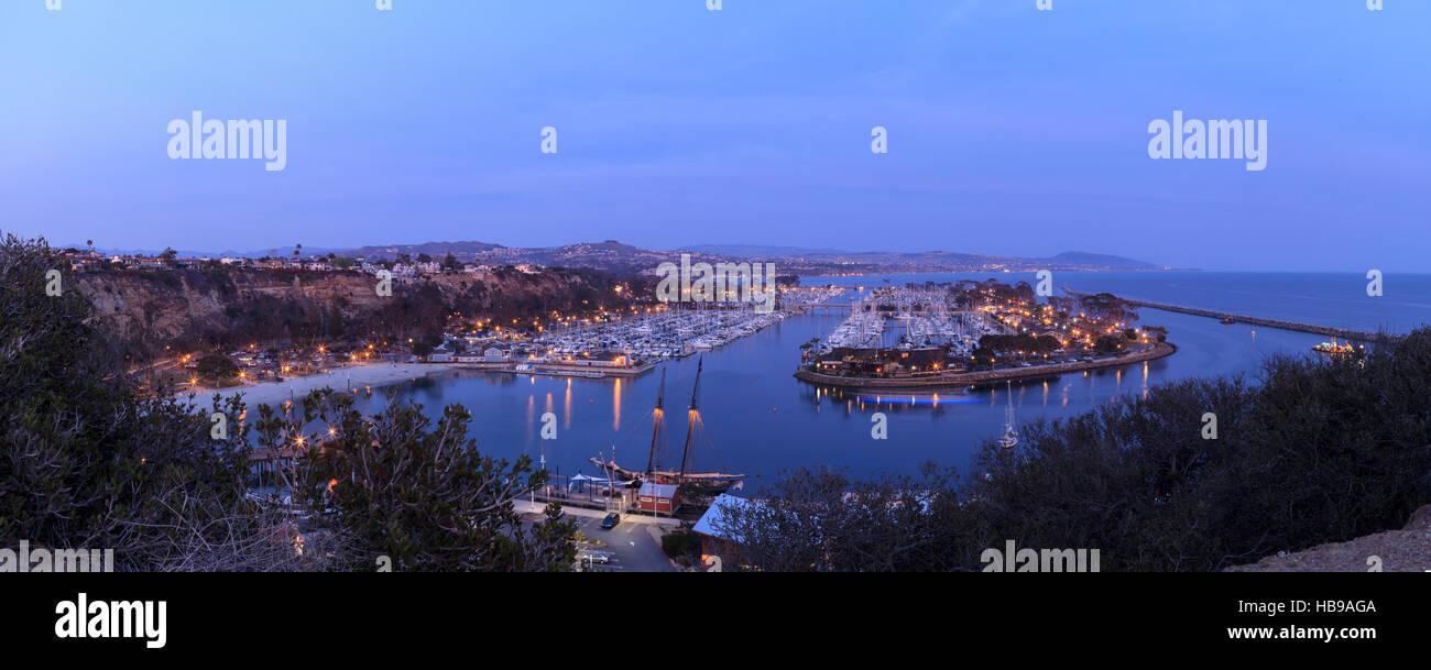 Panoramic Dana Point harbor view - Stock Image