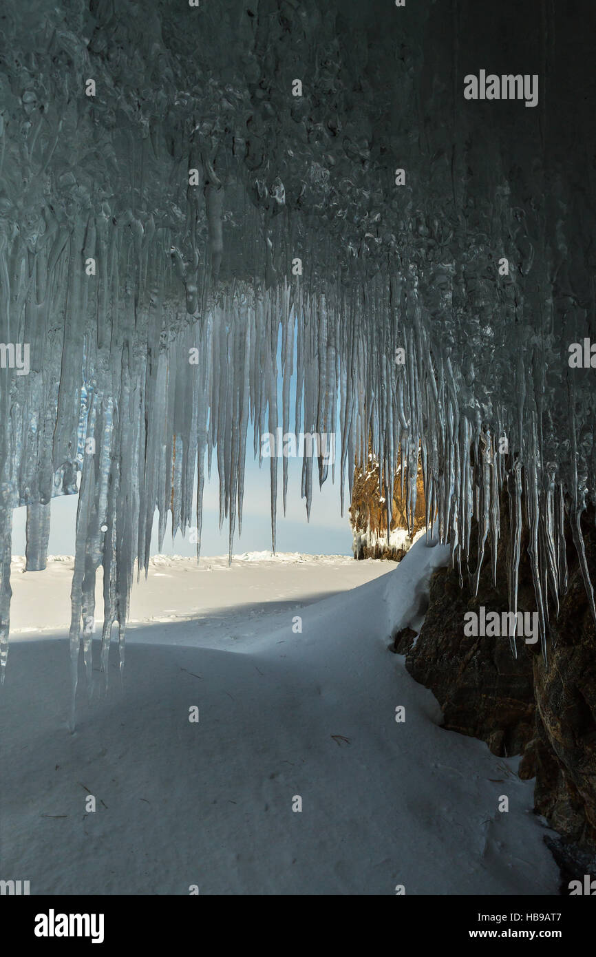 Ice curtain of icicles. - Stock Image