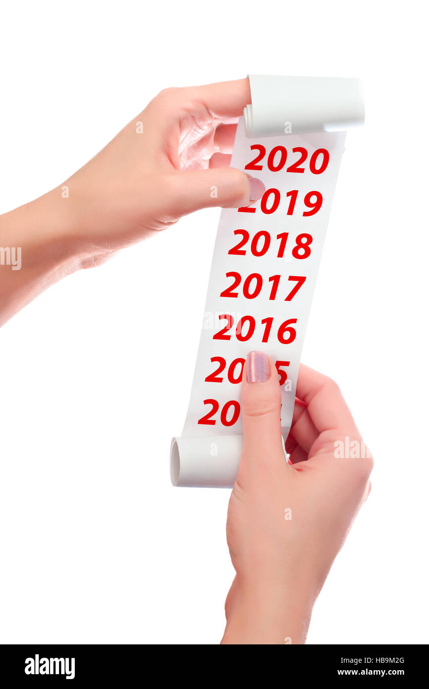Woman Hold in Her Hands Roll of Paper With Printed Receipt Mock Up Template. 2016, 2017, 2018, 2019, 2020 Years - Stock Image