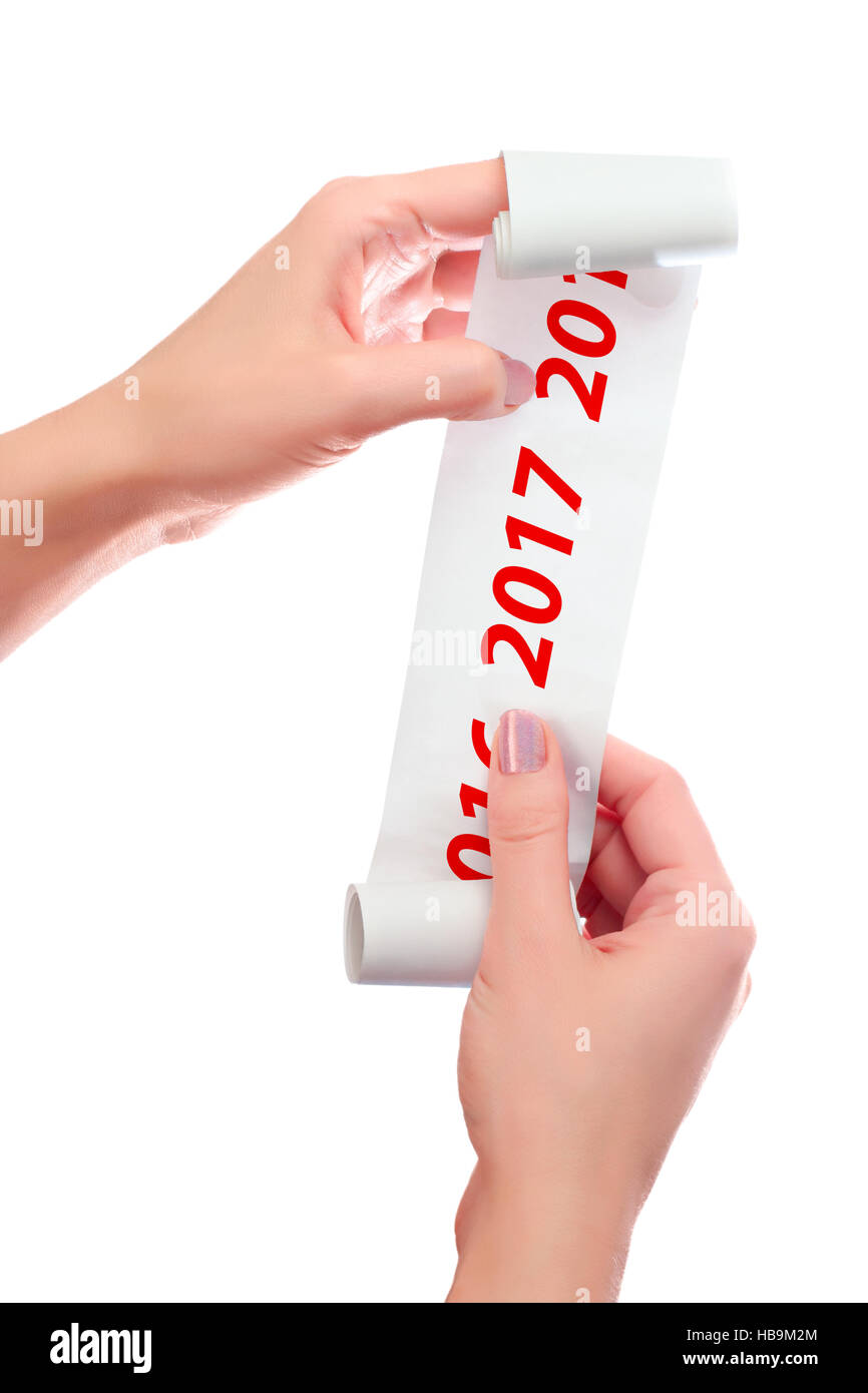 Woman Hold in Her Hands Roll of Paper With Printed Receipt Mock Up Template. 2016, 2017 Years Shown. Shopping, Planning, - Stock Image