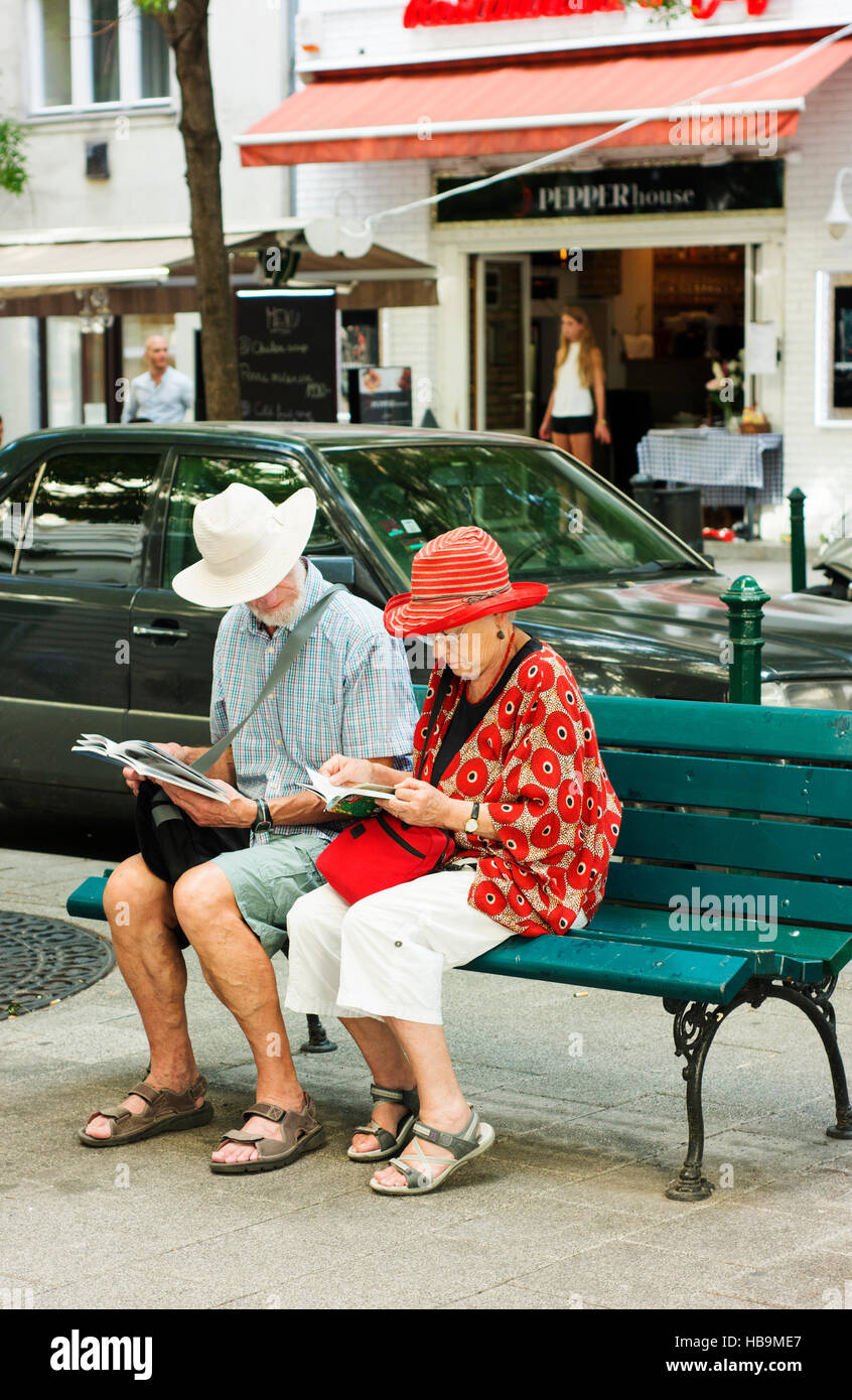 Mature tourists check their maps and guides in Budapest