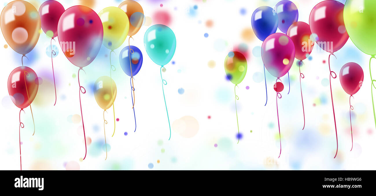 confetti and ballons on white background - Stock Image