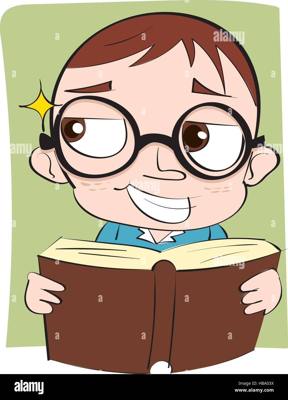 cartoon sly face kid with book. - Stock Vector
