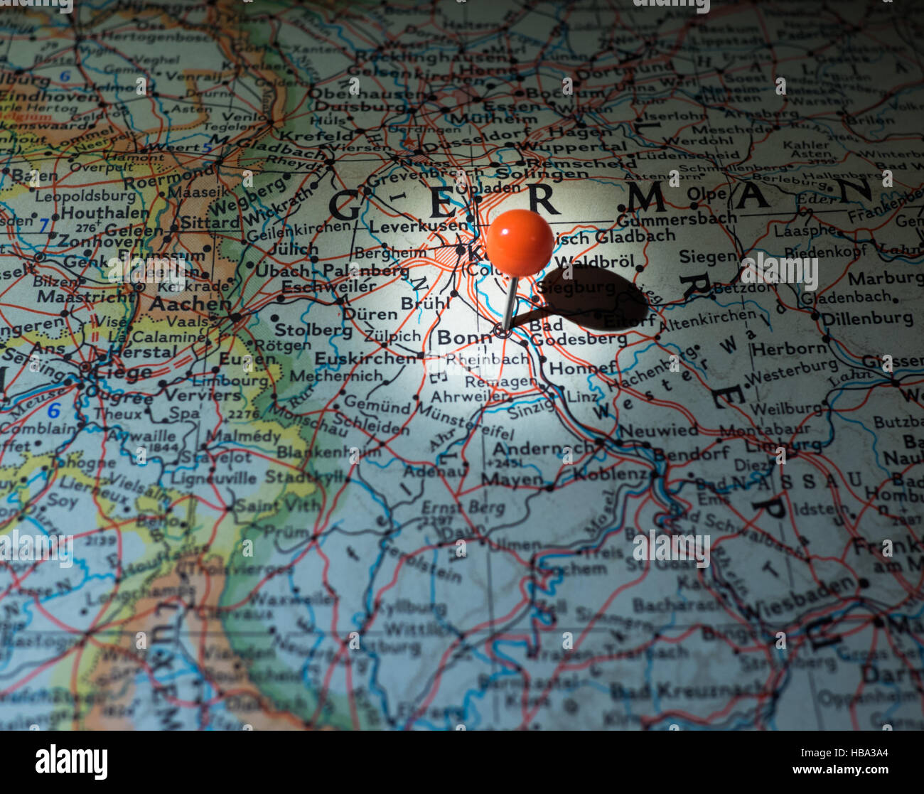 bonn germany location on the route map stock image