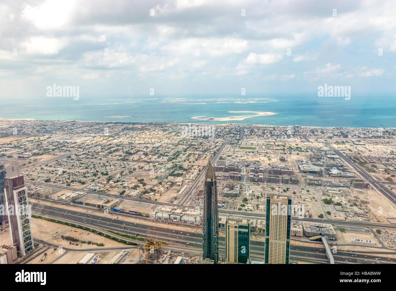 Aerial view of Dubai (United Arab Emirates) - Stock Image