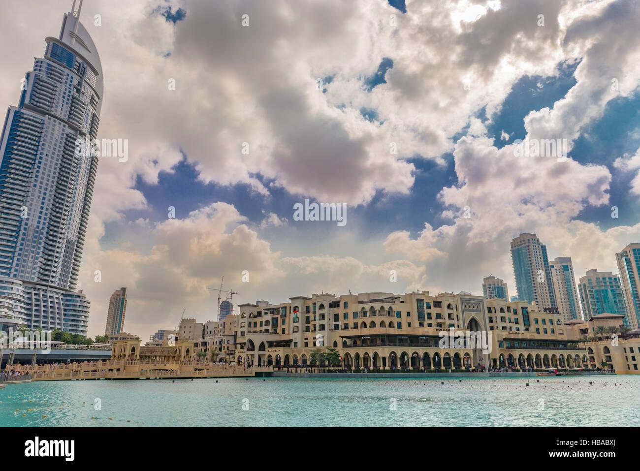 Souk Al Bahar and The Address Hotel, Dubai - Stock Image