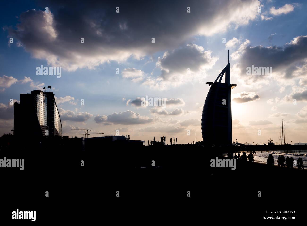The view of the Burj Al Arab silhouette Stock Photo