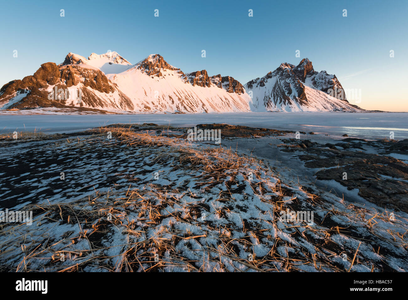 Icelandic Stokksnes in wintertime - Stock Image