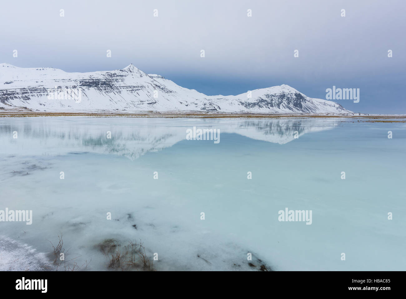 Iceland mountains east fjords in wintertime - Stock Image