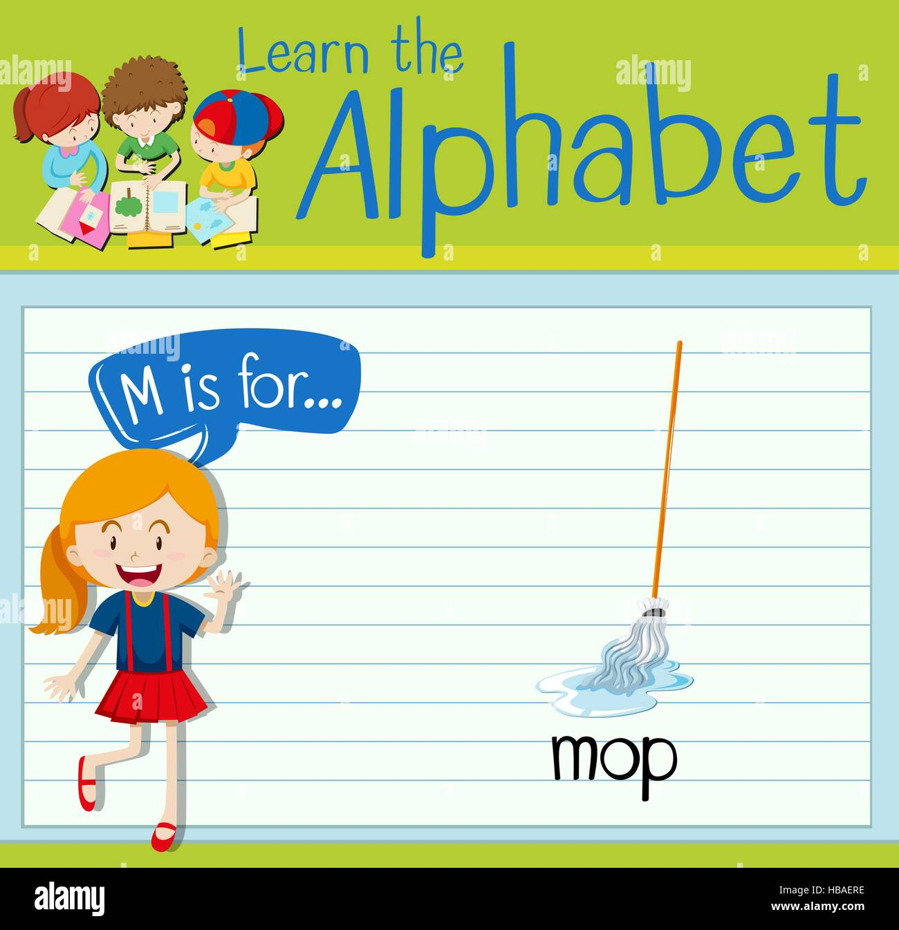 Flashcard letter M is for mop illustration - Stock Vector