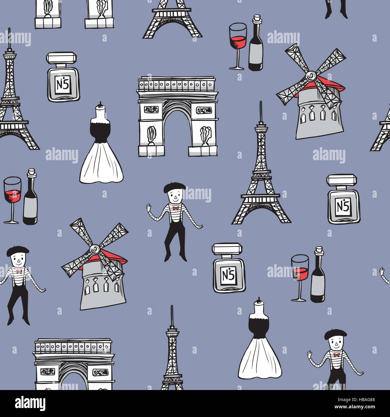 lovely hand drawn travel concept background with landmarks and popular things in France - Stock Image