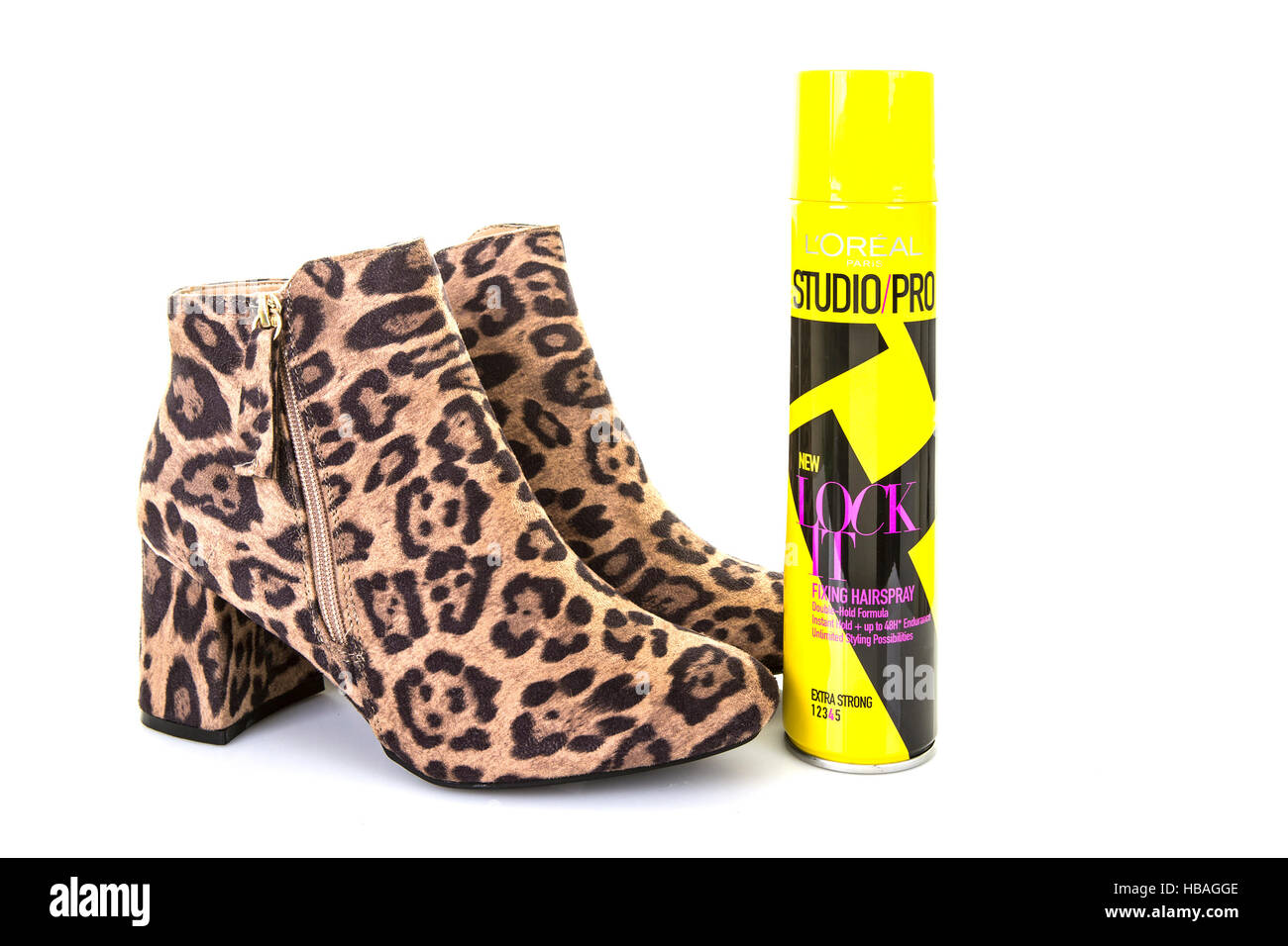f40c82c68 Pair of Leopard Skin Boots with a can of Loreal Studio Pro Lock It hair  spray