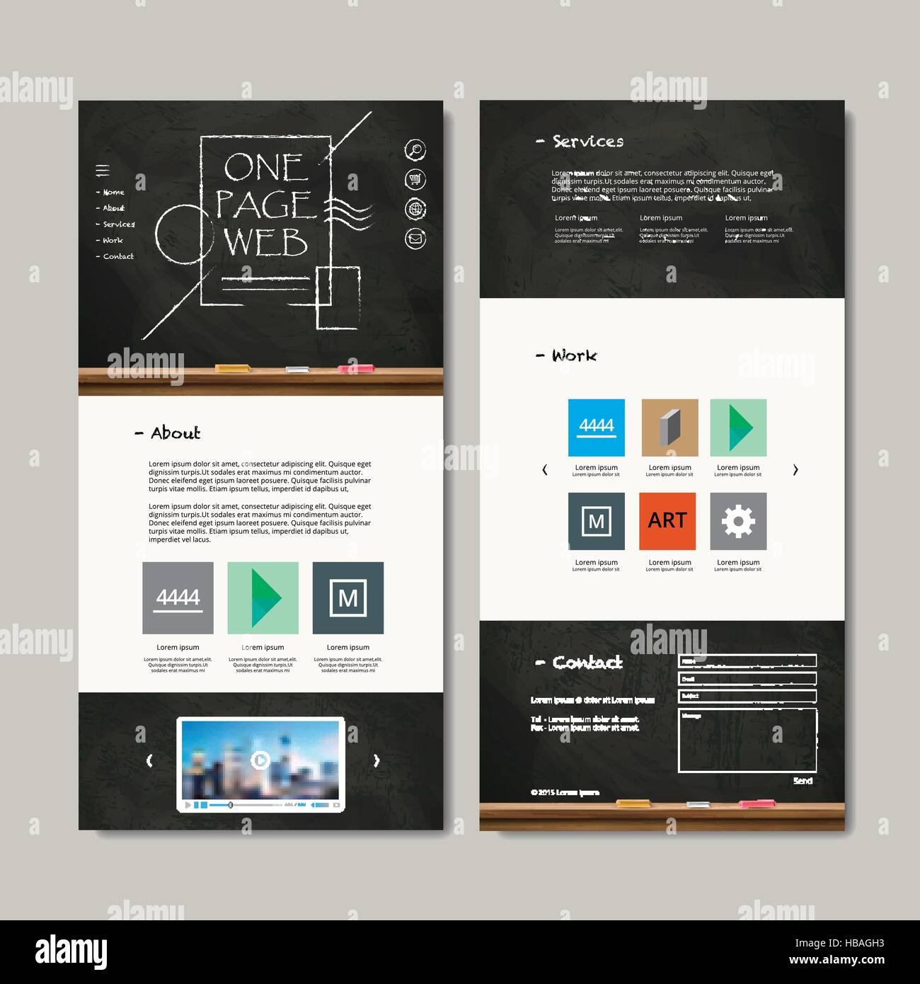 one page web design with chalkboard elements stock vector art