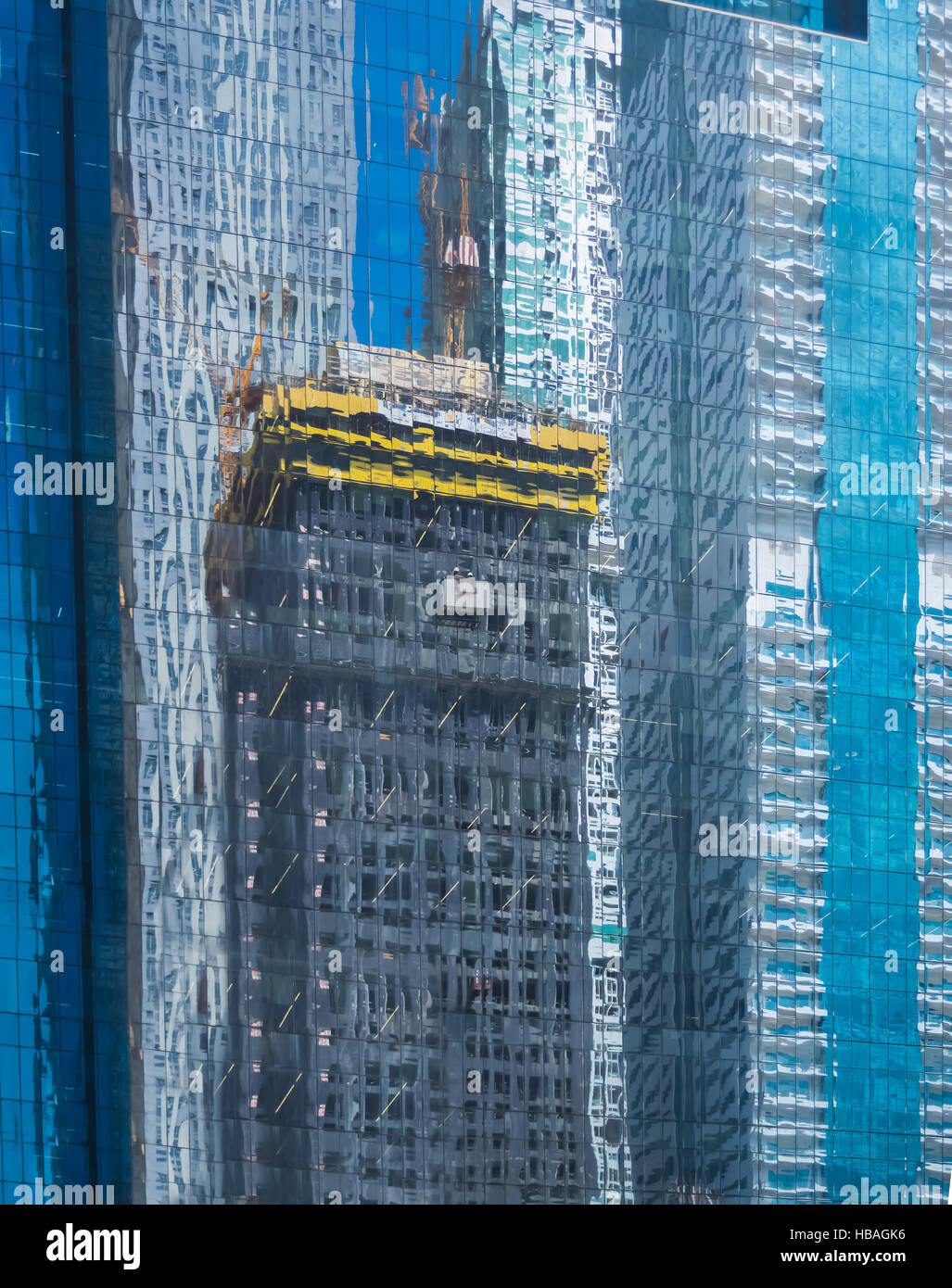 REFLECTION OF BUILDINGS, CONSTRUCTION, WORK. Stock Photo