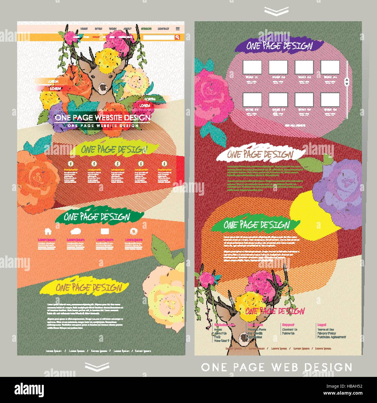 elegant one page website template design with flowers and deer stock
