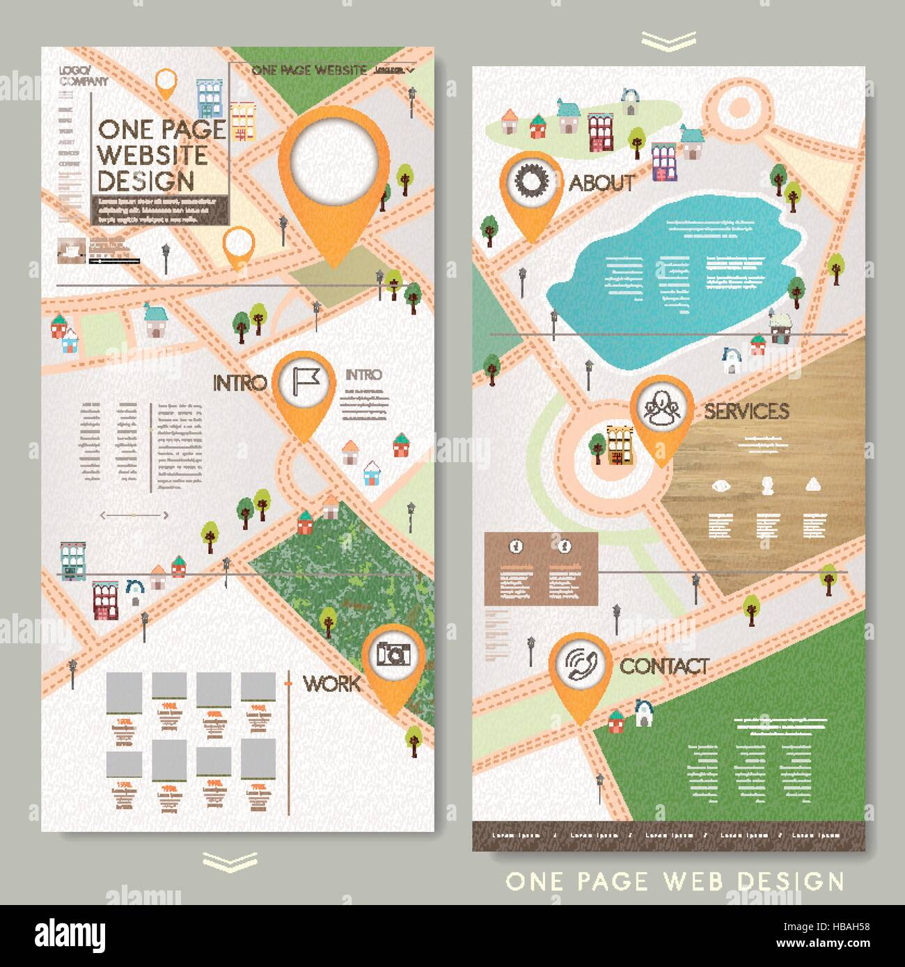 childlike one page website template design with lovely town map