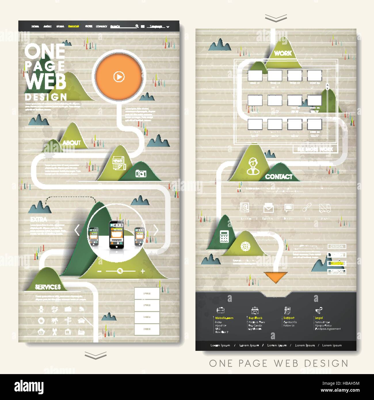 nature one page website template design with paper made mountains ...